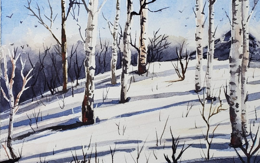 Winter Landscape Watercolor Tutorial