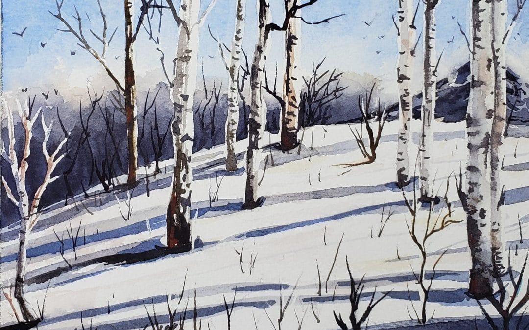Winter Landscape Watercolor Tutorial