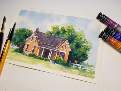 Plein air to Studio Painting : Old Brick Home